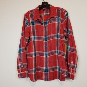 American Living red plaid button down shirt size L